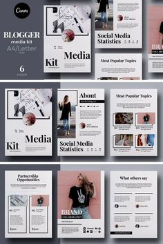 This Blogger/Influencer Media Kit is designed to help fashion bloggers, beauty bloggers, lifestyle bloggers, stylists or travel bloggers make an amazing first impression on their potential clients…