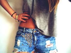 distressed studded shorts <-- love these! I'm going to have to try and make these