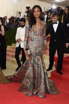 Naomie Harris in a Burberry gown.