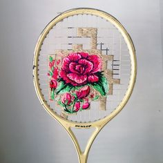 Vivid Floral Embroidery Art Woven onto Vintage Tennis and Badminton Rackets - My Modern Met