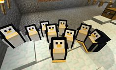 Minecraft penguins!!!! SO CUTE!!!! Must be a mod...
