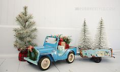 Holiday Trimmings: Vintage toy jeep decorated for the holidays for your Christmas home decor