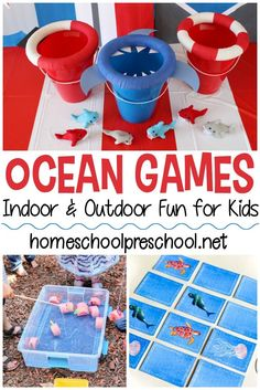 These ocean themed games for kids are perfect for summer! Add them to your summer preschool lessons about the ocean or save them for an ocean-themed birthday party! Ocean Games, Ocean Activities, Preschool Games, Preschool Lessons, Water Games, Family Activities, Toddler Activities, Outdoor Fun For Kids, Outdoor Activities For Kids
