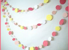 Could do hearts or circles.  Not hard to make.  Pink Lemonade Party Garland -- 15ft.  // Girls Birthday // Baby Shower // Dessert Table Decor //. $15.00, via Etsy.