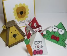 Make fun creations with the retiring Playful Pals Stamp Set and Pyramid Pals Thinlits Dies! You can do cards or treat boxes and party favors like these!  https://www.stampinup.com/ecweb/ProductDetails.aspx?productID=140618&dbwsdemoid=54345