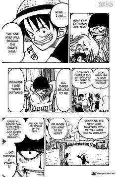 """One Piece, Chapter 5 """"The Great Pirate King and the Great Swordsman"""" page 18"""