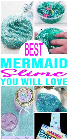 Easy Slime Ideas – DIY – How To Make – Quick & Simple Homemade Mermaid Slime – Fluffy – Glitter – Kids Birthday Party Favors - mina Mermaid Party Favors, Mermaid Theme Birthday, Party Favors For Kids Birthday, Spa Birthday Parties, Little Mermaid Birthday, Glitter Birthday, Little Mermaid Parties, Spa Party, Farm Party