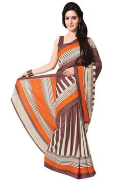 Daily Wear Casual Chocolate,Cream,Orange Color Printed Silk Saree