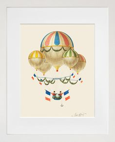 Hot Air Balloon  Early Aviation   French Balloon by PigeonEditions, $11.95