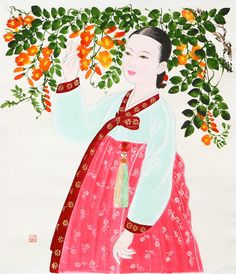 Korean woman in traditional wear, hanbok. Korean Traditional, Traditional Dresses, Korean Art, Asian Art, Korean Illustration, Korean Painting, Korean Hanbok, Painting Of Girl, Comic Pictures