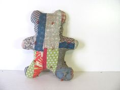 Vintage child's stuffed Teddy Bear Pillow // patchwork quilt and feedsack material