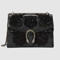 Gucci Dionysus Medium Embroidered Leather Shoulder Bag In Black Gucci Shoulder Bag, Chain Shoulder Bag, Shoulder Handbags, Leather Shoulder Bag, Shoulder Bags, Gucci Purses, Gucci Handbags, Gucci Gucci, Leather Purses