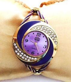 Beautiful Gold & Purple Round Rhinestone Bangle Cuff Watch New   | eBay