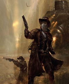 """A gang of robbers, character inspiration The Jame's Squad - Didier Graffet (From illustrated book """"Steampunk - De vapeur… Character Concept, Character Art, Character Design, Machine Volante, Arte Steampunk, Steampunk Cosplay, Westerns, Le Far West, Dieselpunk"""