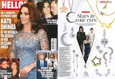Our Itsy Bitsy Mini Moon Silver Necklace featured in HELLO! Dame Joan Collins, Hello Magazine, Stars At Night, Harry And Meghan, Annie, Sterling Silver Jewelry, December, Moon, Fashion