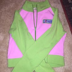 Pink and Green Crop Zip-Up Sweatshirt Cute cropped lightweight sweatshirt with iron-on Jamaica graphics. Worn once or twice but in excellent condition! I believe the size is in juniors because it always seemed a little small to me, but it could just also run small! Tops Sweatshirts & Hoodies