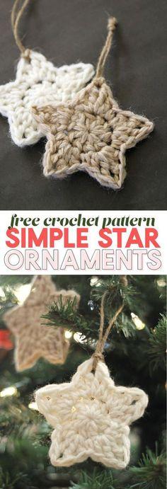 simple crochet star - christmas ornament - free crochet pattern