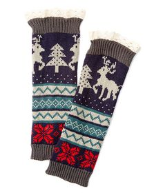 This Navy & Red Reindeer Lace-Trim Boot Cuffs is perfect! #zulilyfinds