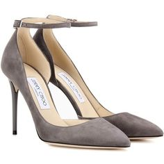 Jimmy Choo Lucy 100 Suede Pumps ($605) ❤ liked on Polyvore featuring shoes, pumps, grey, high-heel, high heel pumps, gray high heel shoes, suede leather shoes, grey high heel pumps and gray suede pumps