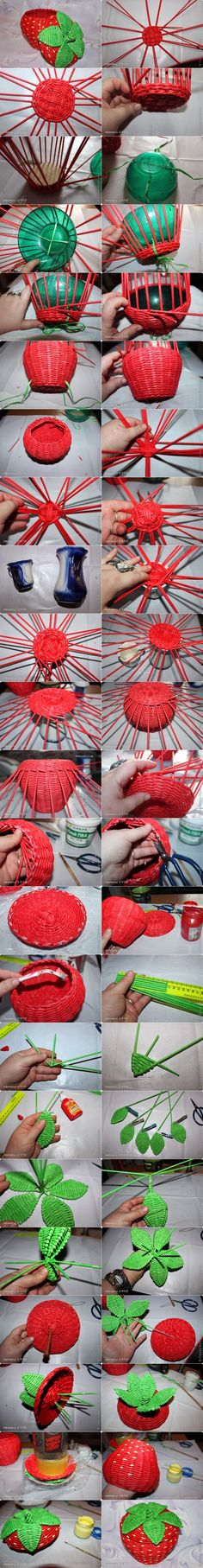 DIY Woven Strawberry Shaped Basket from Recycled Newspaper - DIY Tutorials Newspaper Basket, Newspaper Crafts, Recycle Newspaper, Hobbies And Crafts, Diy And Crafts, Papier Diy, Paper Weaving, Recycled Crafts, Diy Projects To Try
