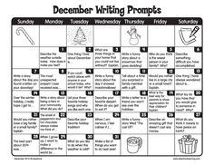 December is a great time for kids to get creative and write every day!                                                                                                                                                                                 More