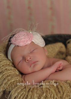 BABY Headband pink and cream headband CHIC by BambaroosBoutique, $24.50