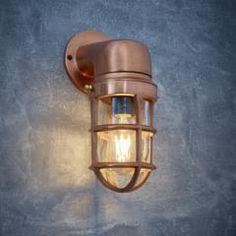 Vintage Industrial Cage Bulkhead Wall Light Sconce with Glass - Copper Retro Bathrooms, Outdoor Bathrooms, Industrial Cage Light, Vintage Industrial, Bathroom Sconces, Wall Sconces, Garden Room Lighting, Cage Light Fixture, Cascade Lights