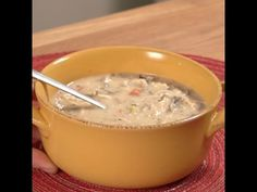 Creamy Chicken Wild Rice Soup in a slow cooker
