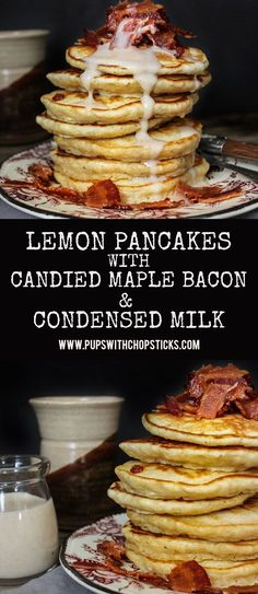 Fluffy, lemon pancakes topped with candied maple bacon with a cinnamon condensed milk drizzle! Dessert or breakfast? Lemon Pancakes, Pancakes And Waffles, Beignets, Churros, Brunch Recipes, Breakfast Recipes, Breakfast Ideas, Crepe Recipes, Waffle Recipes