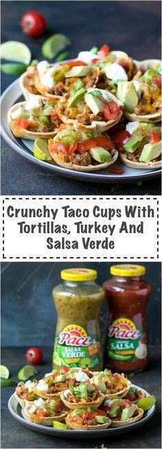 Crunchy Taco Cups Wi Crunchy Taco Cups With Tortillas Turkey And Salsa Verde - very quick and easy to make with amazing flavors these mini bites are perfect for a Game Day party appetizer. Made with Pace Salsa Verde that I got at the Hispanic aisle at my local Walmart ground turkey cheese tomatoes and avocado. via Cooking LSL Walmart #ad #MakeGameTimeSaucy Recipe : ift.tt/1hGiZgA And My Pinteresting Life | Recipes, Desserts, DIY, Healthy snacks, Cooking tips, Clean eating, ,home dec  ift.tt/2v8iUYW  Crunchy Taco Cups Wi Crunchy Taco Cups With Tortillas Turkey...