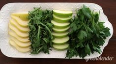 50 Shades of Green  Smoothie:      1 handful arugula     1 green apple - cored, chopped     1 pear - cored, chopped     1/4 cup parsley     1 cup water     2 ice cubes
