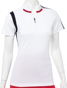Need new golf apparel? EP New York Ladies takes pride in offering women's golf clothing for all shapes and sizes. Buy this PARALLELS (White Multi) EP New York Ladies & Plus Size Short Sleeve Zip Mock Golf Shirts today from Lori's Golf Shoppe!