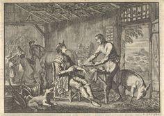 Jan Luyken | Philips II, koning van Spanje wordt opgenomen in de hut van een arme boer, ca. 1560, Jan Luyken, Pieter van der Aa (I), 1698 |
