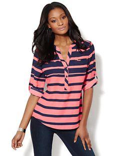 Mercer Soft Popover Shirt - Striped - New York & Company