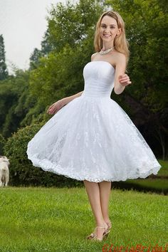 Strapless A-line/Princess Tea Length Lace Wedding Dress Short Bridal Gown -- Gbw311