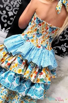Primrose's Ruffled Corset Princess Dress Sizes NB to Kids and Dolls PDF Pattern Girls Boutique, Fashion Boutique, Create Kids Couture, Shirred Dress, Young Models, Sewing Tutorials, Sewing Tips, Layered Look, Stunning Dresses