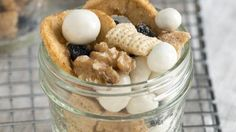 Blueberries and apples cross paths with cinnamon-coated cereal in this wholesome snack mix from the great state of Maine.
