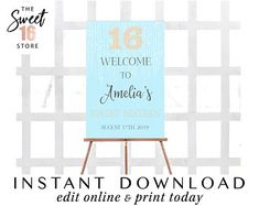 Glitter Sweet 16 Welcome Sign Edit Online, Sweet Sixteen Parties, Quinceanera Invitations, 16th Birthday, Sign Design, Welcome, Sweet 16, Signage, Online Printing