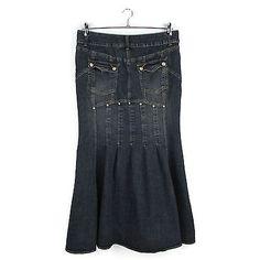 Bisou Bisou Maxi Denim Skirt 12 Art To Wear Modest No Slit Mermaid Flare Panel