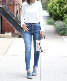 Fall Style | Button Fly Denim | White Coach Bag | Fall Mules