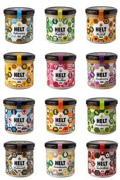 Loving this package design by STUDIO ARHOJ for Helt a Danish artisan honey brand Honey Packaging, Cool Packaging, Food Packaging Design, Bottle Packaging, Packaging Design Inspiration, Brand Packaging, Chocolate Packaging, Coffee Packaging, Product Packaging