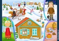Praatplaat Rusland voor kleuters, kleuteridee.nl, free printable (groot formaat) / Russia children's illustrations preschool / Láminas Didácticas