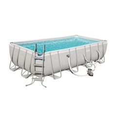 Bestway Power Steel x x 48 inch Rectangular Frame Swimming Pool Set with Pump, Ladder and Cover, Silver Above Ground Swimming Pools, Above Ground Pool, In Ground Pools, Pool Shapes, Rectangular Pool, Pool Installation, Summer Waves, Jonah Marais, Shopping