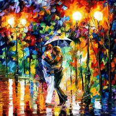 Pinta la silueta de la vida en un lienzo de amor, pinta y retoca el borde de la hermosura con tu brocha de la razón, Resalta la sombra de la felicidad y remarca la línea de la vida, haz el más hermoso cuadro no pienses, sólo pinta lo que desees ver, lo que quieres que te depare la vida con un deslumbrante amanecer…      (Pintura en oleo porLeonid Afremov)