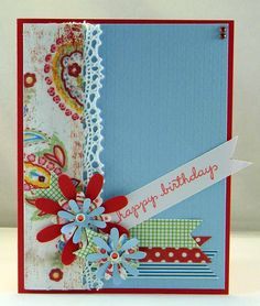 www.DenamiAddict.blogspot.com - Washi Tape flag happy birthday card