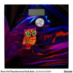 Neon Owl Thunderstorm Flash Bathroom Scale