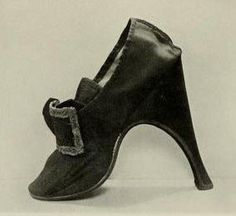 """A gentleman's shoe. Eighteenth century. """"An extraordinary shoe, for a gentleman, with a heel far higher than is commonly found on shoes of this period; it measures full 6 inches in height. ..."""" In: Royal and historic gloves and shoes (1904) The Mary Ann Beinecke Collection of Decorative Art. http://archive.org/stream/royalhistoricglo1904redf#page/n249/mode/2up"""