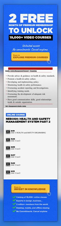 NEBOSH: HEALTH and SAFETY Management System PART 2 Business, Management, Safety, HEALTH AND SAFETY, NEBOSH, Health And Safety Course, Nebosh Management System #onlinecourses #onlinelearningbenefits #CoursesOnline    we go to chapter 3 : second stone in the system the Organizing, we define roles & responsibilities in the organization, & concept of safety culture, and factors influencing it , how ...