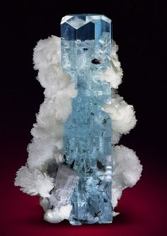 "bijoux-et-mineraux: ""Aquamarine with Schorl inclusions, Albite and Apatite - Shigar Valley, Skardu District, Gilgit-Baltistan, Pakistan "" Minerals And Gemstones, Rocks And Minerals, Natural Crystals, Stones And Crystals, Gem Stones, Beautiful Rocks, Mineral Stone, Vanitas, Rocks And Gems"