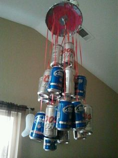 Beers can chandelier for trashy party